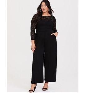 1fbb4f65f407 torrid Dresses - TORRID BLACK LACE CHALLIS WIDE LEG JUMPSUIT